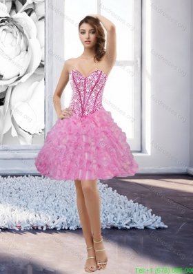 Inexpensive Rose Pink Sweetheart 2015 Bridesmaid Dress with Beading and Ruffles
