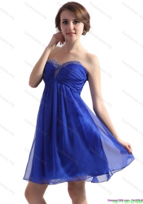 Sweetheart Ruffled Blue 2015 Bridesmaid Dresses with Beading