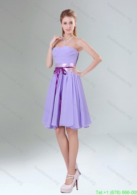 2015 Decent Lavender Ruched Mini Length Bridesmaid Dress with Bowknot Sash