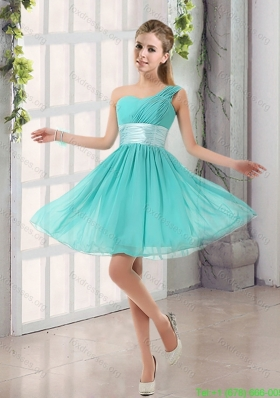 2015 Natural One Shoulder A Line Ruching Lace Up Bridesmaid Dress