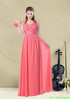 2015 Super Hot Straps Floor Length Bridesmaid Dress with Belt