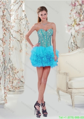 Popular Beading and Ruffles Mini Length Prom Dresses in Turquoise