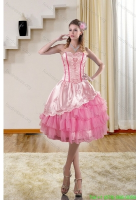 2015 Cute Sweetheart Prom Gown with Embroidery and Ruffles