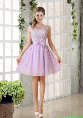 2015 Most Beautiful Chiffon A Line Prom Dress with Bowknot