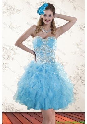 2015 Spring Baby Blue Sweetheart Prom Dresses with Embroidery
