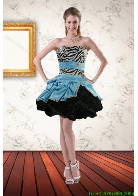 2015 Zebra Printed Strapless Prom Gown with Ruffles and Pick Ups