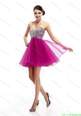Beautiful Fuchsia Sweetheart Prom Dresses with Rhinestone