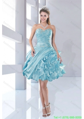 Pretty Sweetheart Beaded 2015 Prom Dresses in Aqua Blue