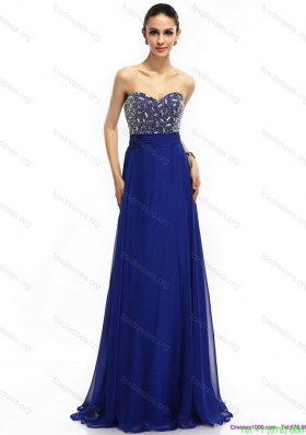 Best 2015 Sweetheart Prom Dress with Brush Train and Beading