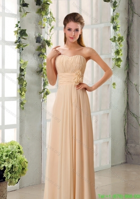 Best Champagne Ruching Chiffon Prom  Dresses with Sweetheart