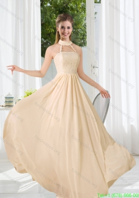Best Halter Empire 2015 Classical Bridesmaid Dress with Lace