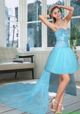Best High Low Sweetheart Beaded Quinceanera Dress in Baby Blue