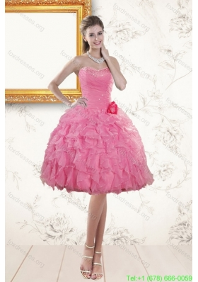 Best Sweetheart Rose Pink 2015 Prom Dresses with Beading and Ruffles
