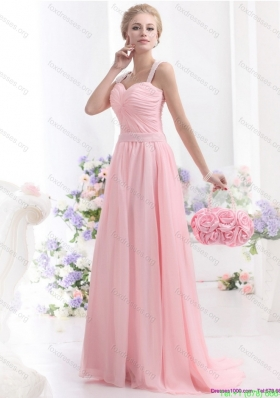 Best 2015 Baby Pink Prom Dress with Brush Train and Ruching