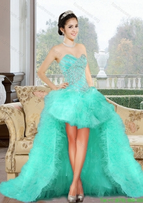 Best 2015 High Low Prom Dresses with Appliques and Ruffles