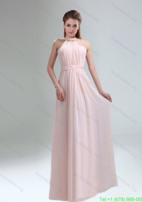 Best 2015 High Neck Chiffon Light Pink Prom Dress