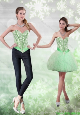 Best Beading and Ruffles Apple Green Prom Dress for 2015