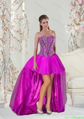 Best High Low Beading Fuchsia Prom Dresses
