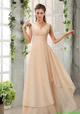 Best Ruching V Neck Chiffon Prom Dresses in Champagne