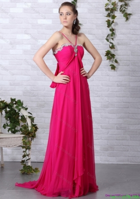 Cheap Hot Pink Halter Top Prom Dress with Brush Train
