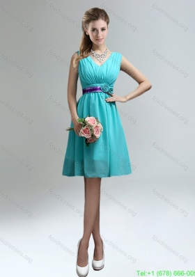 Cheap V-neck Ruched Prom Dresses with Belt for Sale