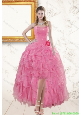 2015 Cheap Rose Pink Sweetheart Prom Dresses with Beading and Ruffles
