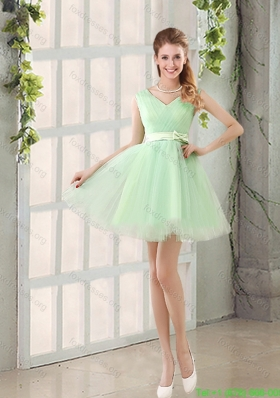 2015 Elegant Organza A Line Belt Bridesmaid Dresses