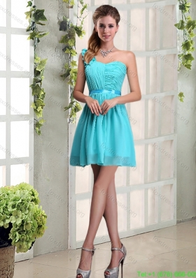 Cheap A Line One Shoulder Ruching Prom Dress