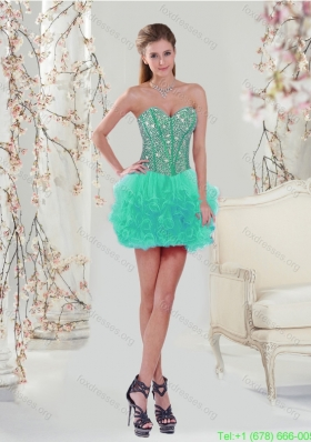 Cheap Apple Green Prom Dress with Beading and Ruffles