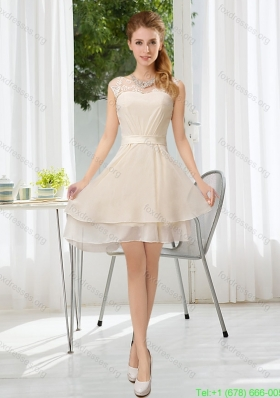 Cheap Bateau Belt Mini Length Prom Dress with Lace Up