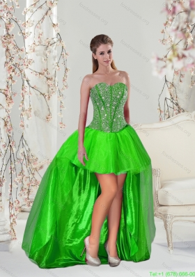 Cheap High Low Beading Prom Dresses in Spring Green for 2015
