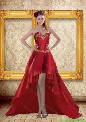 Cheap High Low Sweetheart Wine Red Beading Prom Dresses