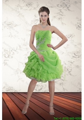 Cheap Spring Green Strapless Prom Dresses with Ruffles and Beading