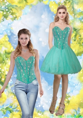 Elegant 2015 Beading and Appliques Sweetheart Bridesmaid Dresses in Turquoise