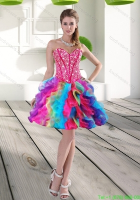 Elegant Beading and Ruffles Organza 2015 Bridesmaid Dresses in Multi Color