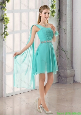Elegant One Shoulder A Line Beading and Ruching Bridesmaid Dress with Lace Up