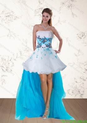 2015 Elegant Multi Color Strapless Bridesmaid Dresses with Embroidery and Beading