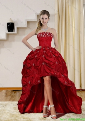 2015 Elegant Strapless Red Bridesmaid Dresses with Embroidery and Pick Ups