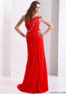 Elegant 2015 One Shoulder Red Bridesmaid Dresses with Beadings and Brush Train