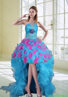 Elegant High Low Strapless Ruffled Bridesmaid Dresses with Hand Made Flower