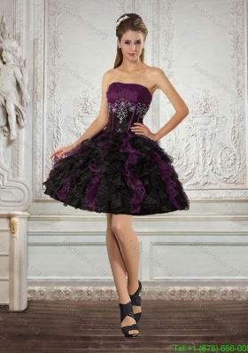 Elegant Strapless Multi Color Bridesmaid Dresses with Ruffles and Embroidery
