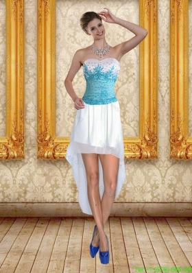 Elegant Sweetheart High Low 2015 Bridesmaid Dresses with Blue Embroidery