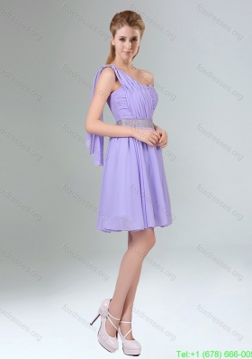 Plus Size Beaded and Ruched Short Prom Dresses in Lavender