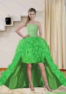 Plus Size Spring Green High Low Prom Dresses with Beading