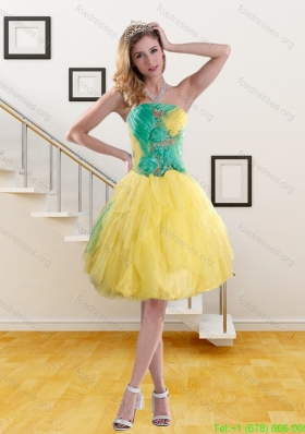 Plus Size Strapless Prom Dresses with Embroidery and Ruching