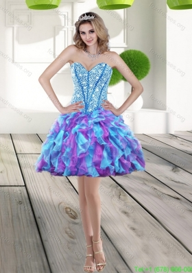 Sexy 2015 Beading and Ruffles A Line Prom Dress in Multi Color