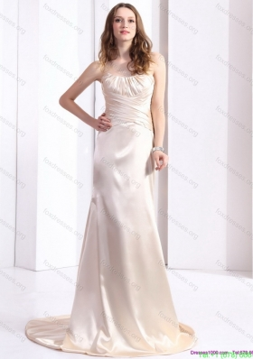 Sexy 2015 Prom Dress with Brush Train and Ruching