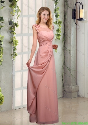 Sexy Appliques Ruching Scoop Bridesmaid Dresses