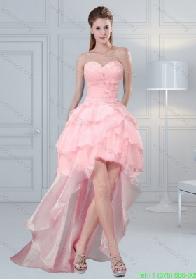 Sexy Baby Pink Sweetheart Beaded Prom Dresses with Ruffled Layers