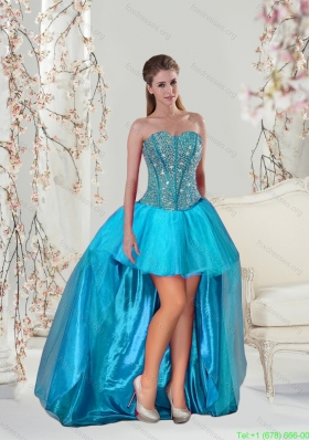 Sexy Beading and Ruffles Prom Dress in Aqua Blue